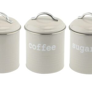 Apollo Round Tea, Sugar and Coffee Canisters