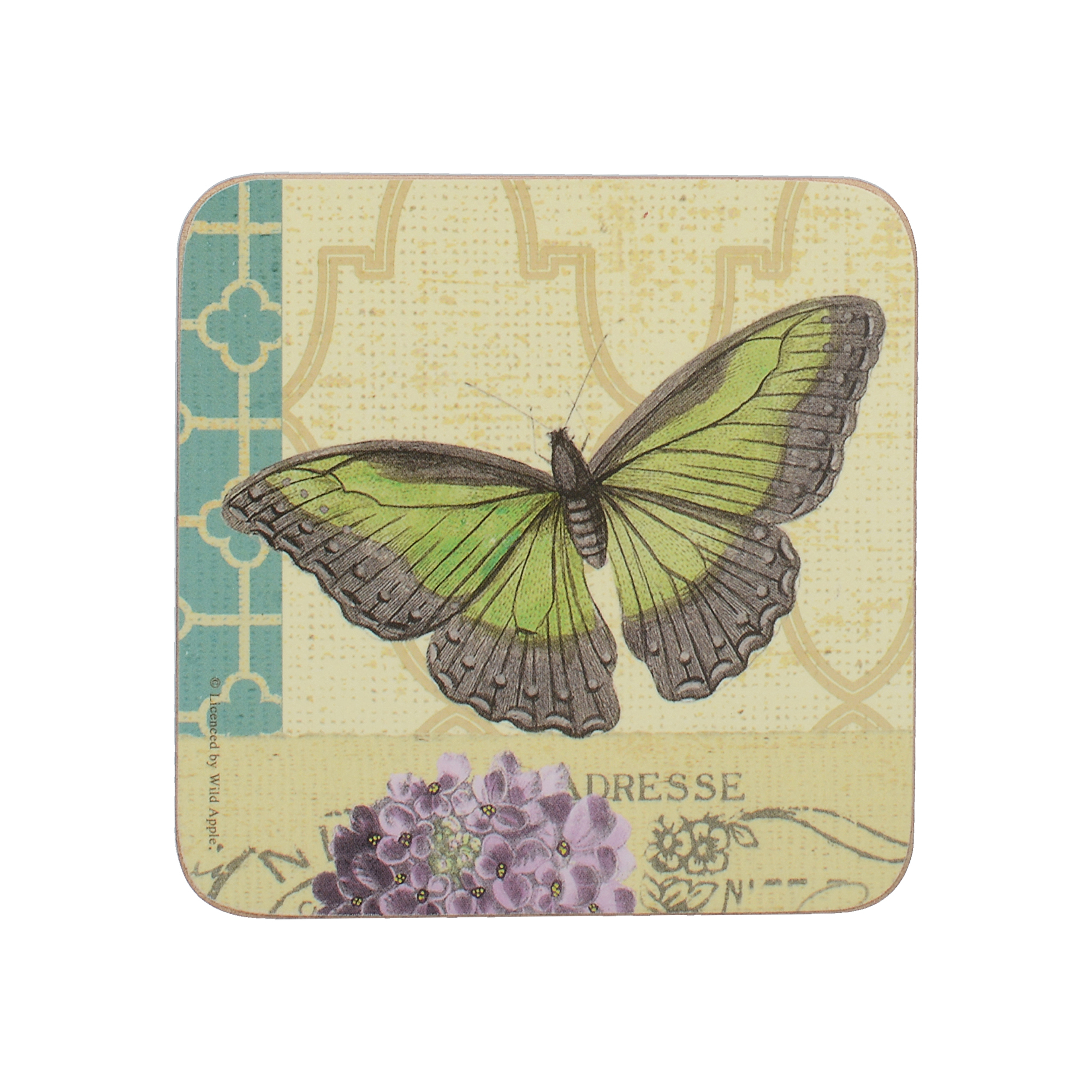 Colourful Butterfly Design Cork Backed Drinks Table Coasters Mats Set of 4