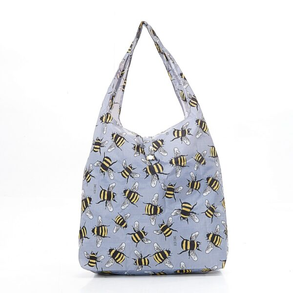 Eco Chic Foldable Shopper Bees Grey
