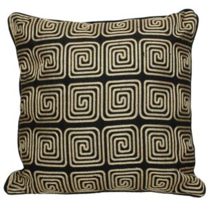 Black And Gold Patterned Cushion