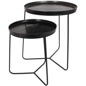 Black Aluminium Nest Of 2 Tables