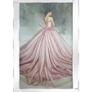 Lady In Pink Dress Mirrored Frame
