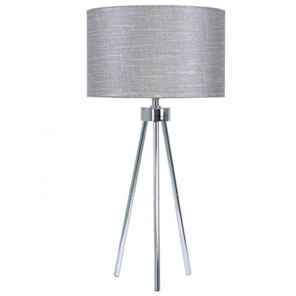 Chrome Tripod Table Lamp with Grey Linen Shade