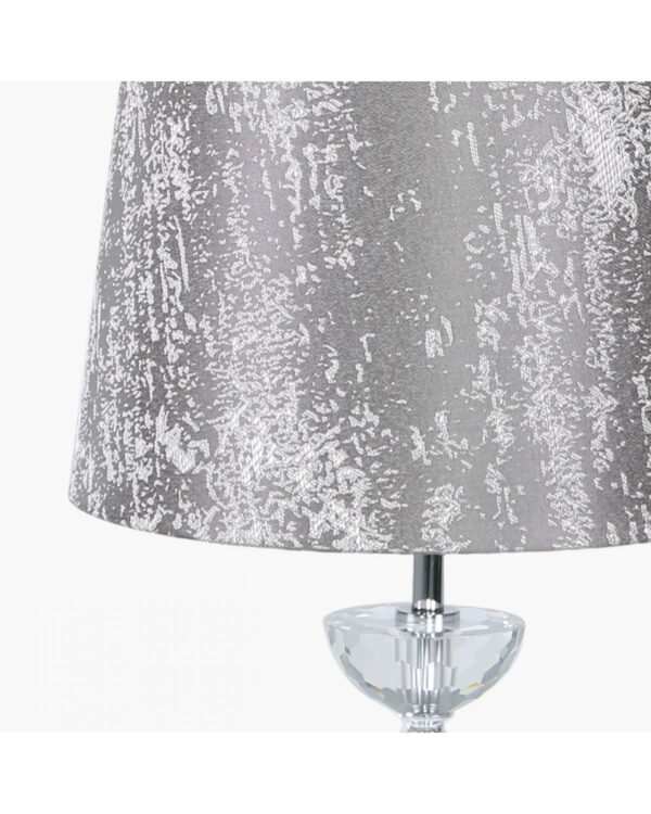 Metal and Glass Table Lamp with Taupe Cotton Shade