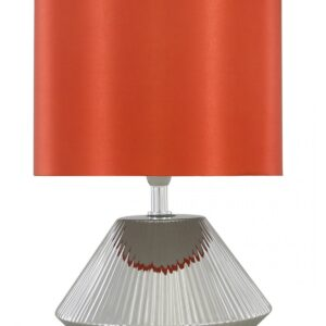 Silver Ceramic Cone Shape Table Lamp with 10 inch Terracotta Faux Silk Drum Shade