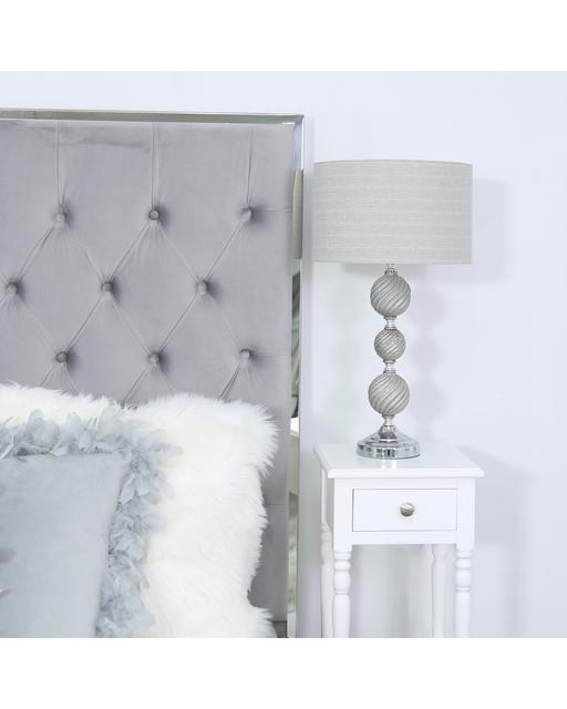Three Ceramic Ball Table Lamp with Silver Shade