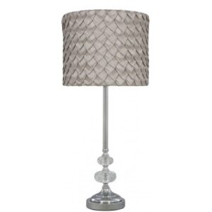 Chrome Sandringham Glass Bubble Lamp with Taupe Folds Shade