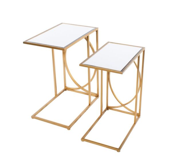 Franklin Sofa Tables Mirrored Top Gold