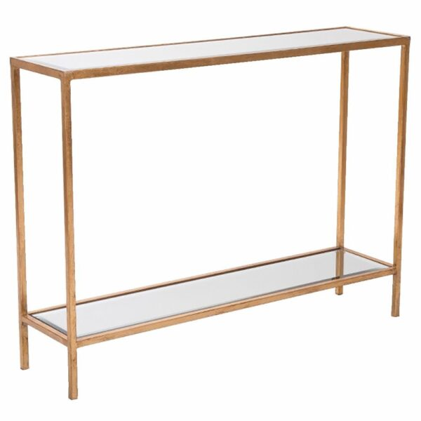 Fern Cottage Gold Console With Mirrored Top