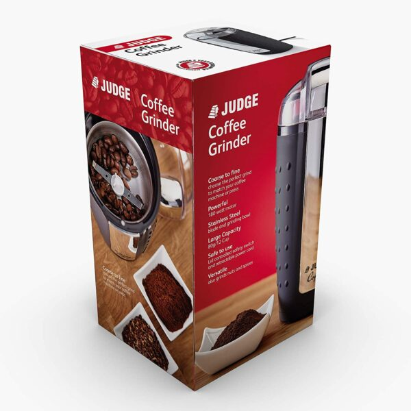 Have fresh coffee first thing in the morning almost instantaneously with this Judge 80 Gram Coffee Grinder's 180 Watt Motor.