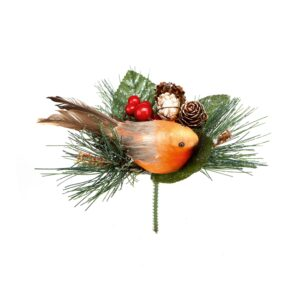 15cm Robin With Pine Cone Decoration