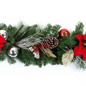 1.8m Red, Gold & Silver Festive Garland
