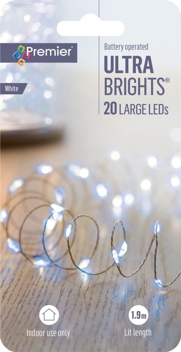 20 Large White Battery Operated Ultra Bright LEDs