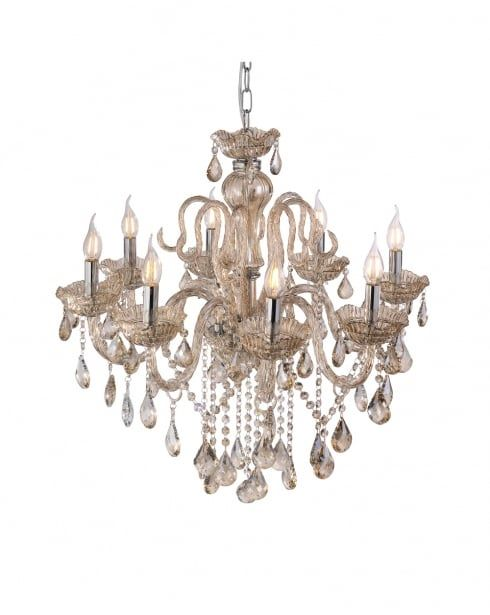 Traditional Crystal Glass Champagne Chandelier.