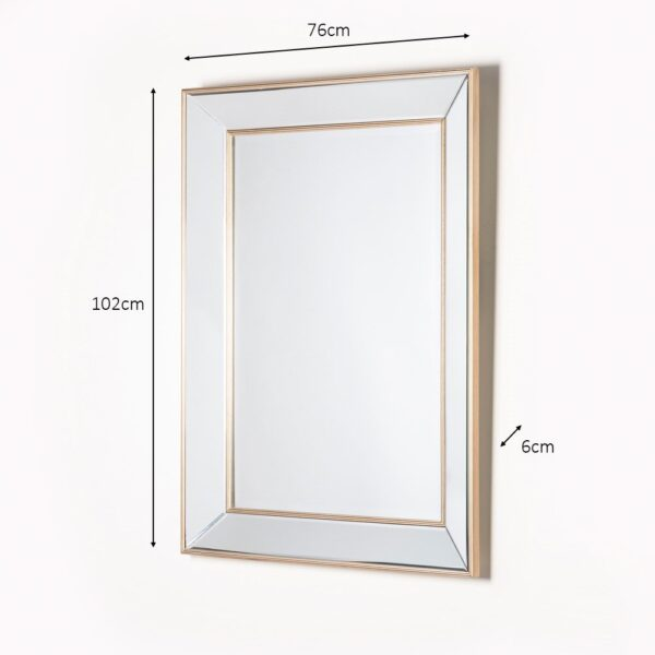 Antique Champagne Clear Glass Wall Mirror