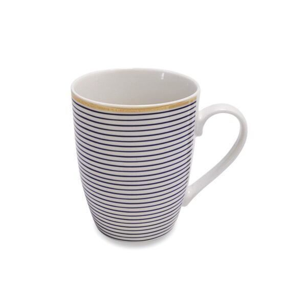 Parallel Navy Lines Mugs - Set of 6 in Hatbox