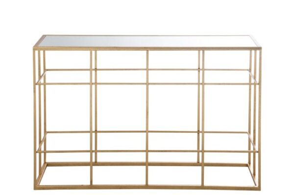 Gold Console Table with Mirrored Top.