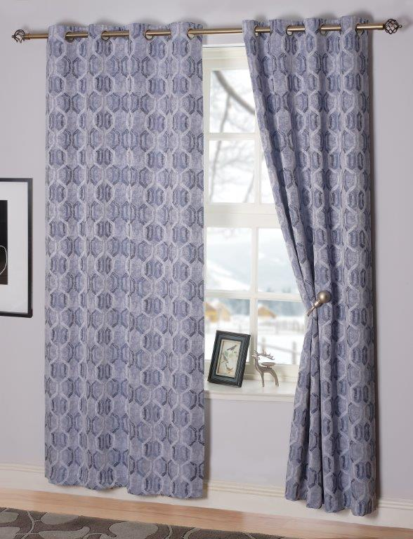 Sultan Interlined Eyelet Curtains - Navy