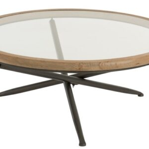 Round Glass/Wood Coffee Table.