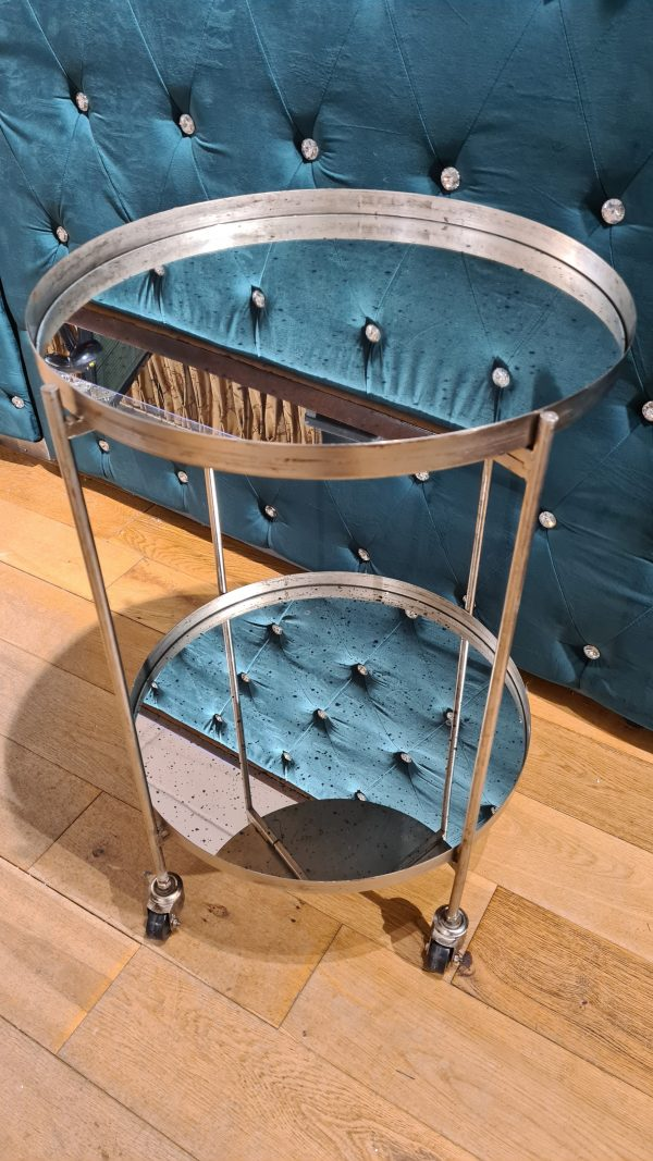 Antique Mirrored Side Table With Wheels.