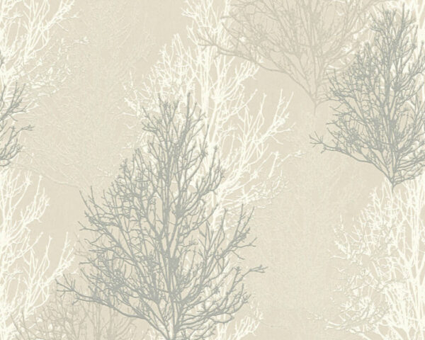 Adelaide Cream/Silver Tree Wallpaper - 348192