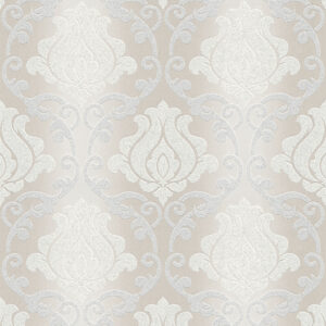 Adelaide Beige Silver Grey Damask Wallpaper