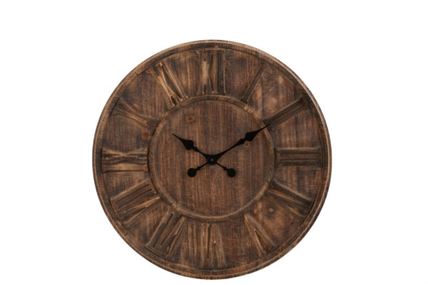 Large Wooden Clock with Roman Numerals