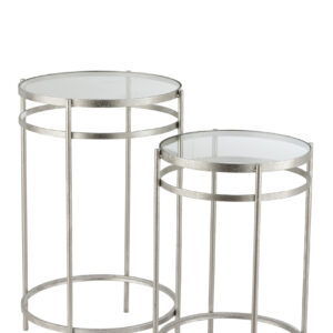Set Of 2 Side Tables Laure Mirror Iron Silver