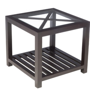 Side Table 1 Cross Square Wood/Glass Black