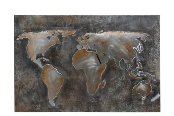 Painting World Abstract Canvas/Metal Grey/Brown