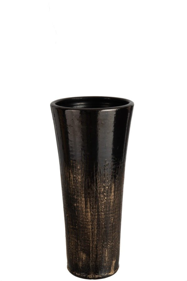 Black and Gold Ceramic Vase