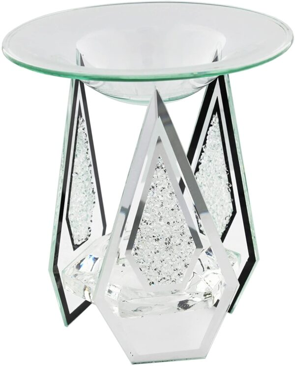 Hestia Glass Mirror and Oil Burner Diamond Shaped with Crystals