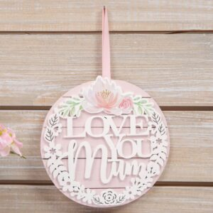 Love You Mum Wooden Hanging Plaque