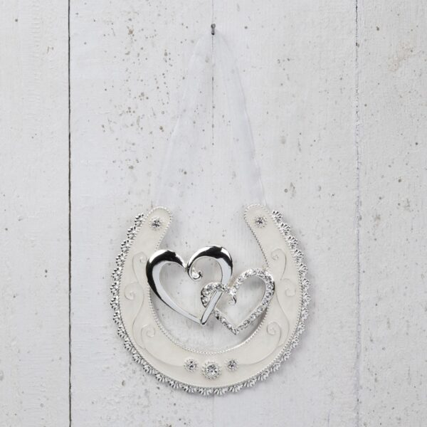 Silver Plated Horse Shoe - Double Hearts