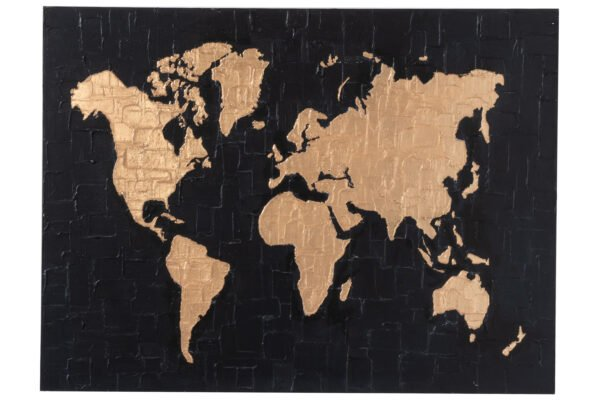Painting World Map Canvas/Wood Black/Gold
