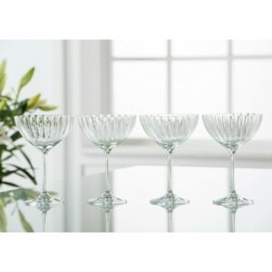 Galway Crystal Erne Saucer Champagne Set Of 4 Glasses
