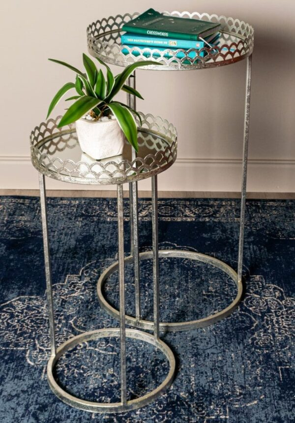 Ridgley S/2 Accent Tables Round Mirrored Silver