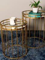 Cage Set Of Two Side Tables Round Mirror Gold