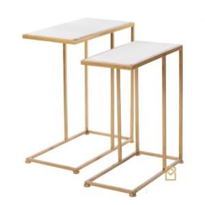 Bella S/2 Sofa Tables Marble Top Gold