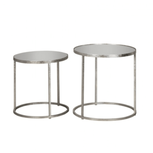 Avery S/2 Side Tables Round Mirrored Silver