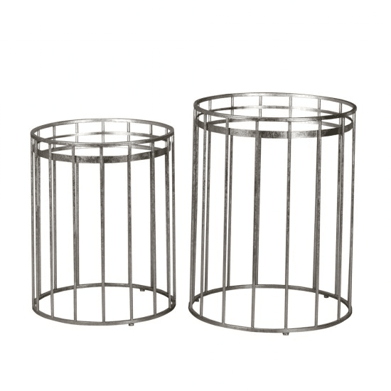 Cage Set Of Two Side Tables Round Mirror Silver