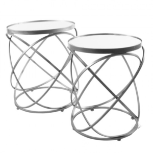Spirals S/2 Side Tables With Mirror Silver