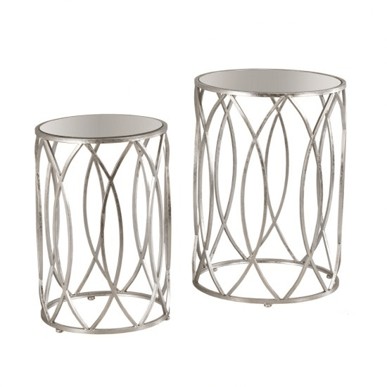 Waves S/2 Side Tables Antique Mirror Silver
