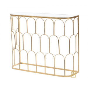 Odessa Mirrored Console Table Gold Leaf
