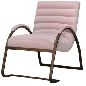Fern Cottage Blush and Brass Ribbed Ark Chair