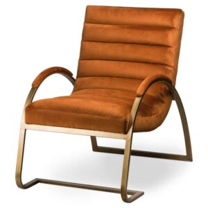 Fern Cottage Burnt Orange And Brass Ribbed Ark Chair