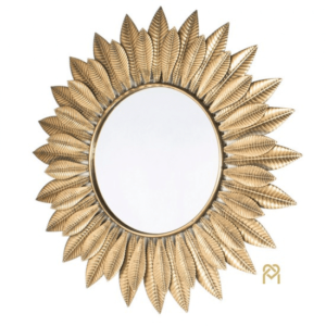 Azure Leaf Wall Mirror Gold