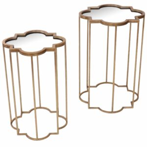 Fern Cottage Set of 2 Gold Tables with Mirror Top
