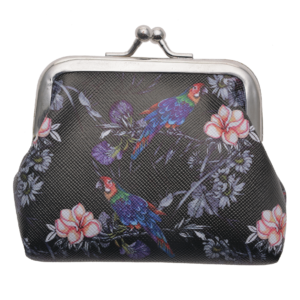 Black Parrot and Flowers Wallet