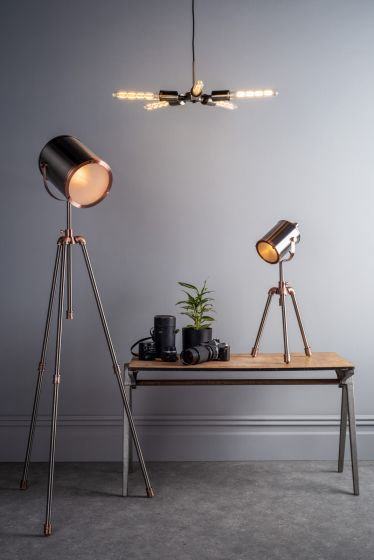 Jake Task Floor Lamp Antique Silver And Copper